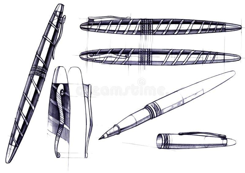 Disegni lo sviluppo di schizzo della progettazione di una penna e di una penna a sfera esclusive immagini stock