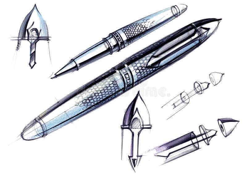 Disegni lo sviluppo di schizzo della progettazione di una penna e di una penna a sfera esclusive fotografia stock libera da diritti