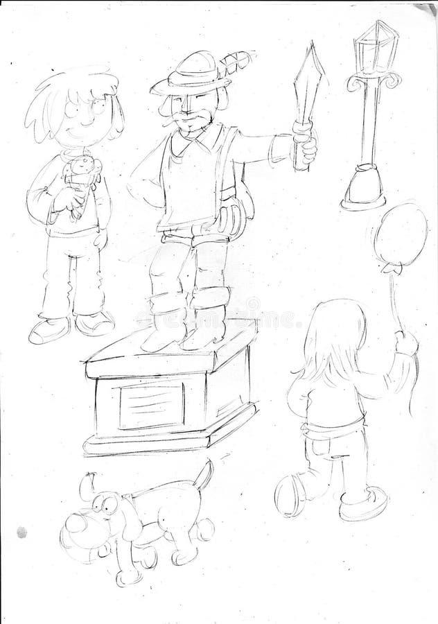 Disegni a matita gli schizzi con il bambino che mangia la statua del cane del gelato il - Cane che mangia a tavola ...