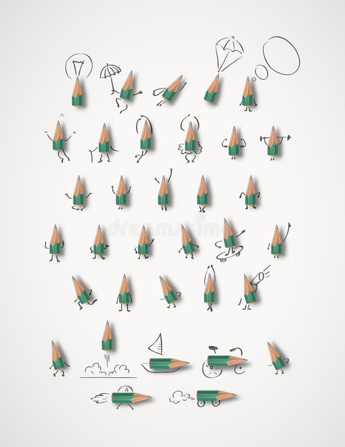 Disegni a matita i caratteri ed altro scarabocchia - i pastelli verdi immagine stock libera da diritti