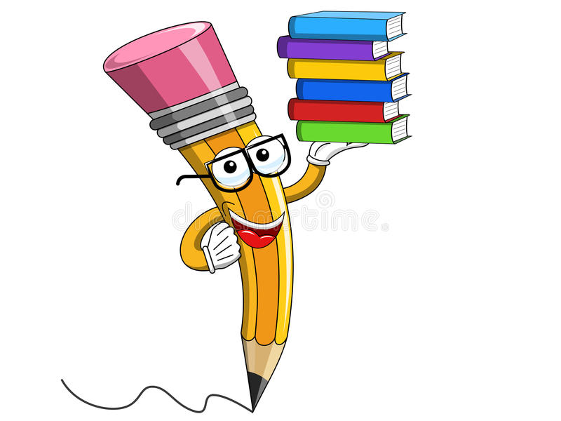 Disegni a matita l'isolato d'uso dei libri del mucchio di vetro di lettura del fumetto della mascotte royalty illustrazione gratis