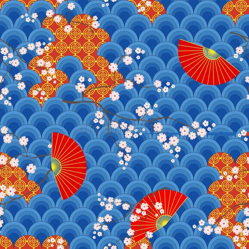 Disegni orientali storici tradizionali con i fan ed i rami della ciliegia sbocciante Vettore senza cuciture di colore illustrazione di stock