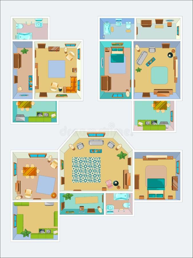 Disegni per la disposizione dell'appartamento Immagini di vettore di vista superiore della cucina, del bagno e del salone royalty illustrazione gratis