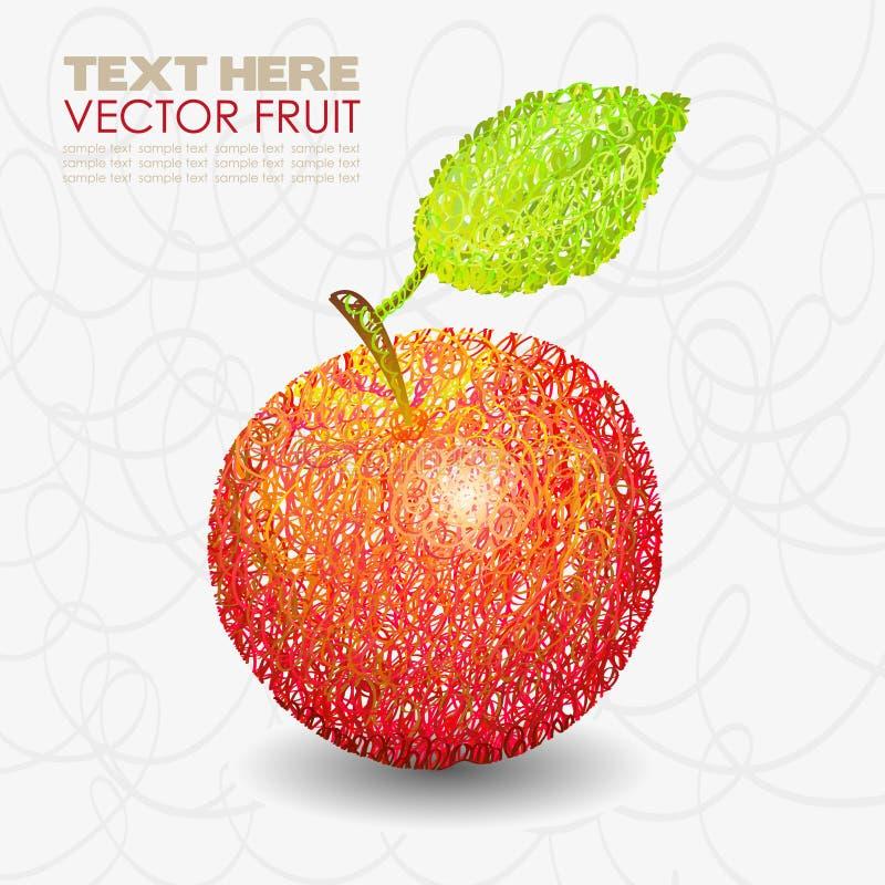 Disegni rossi della frutta della mela con il foglio illustrazione vettoriale