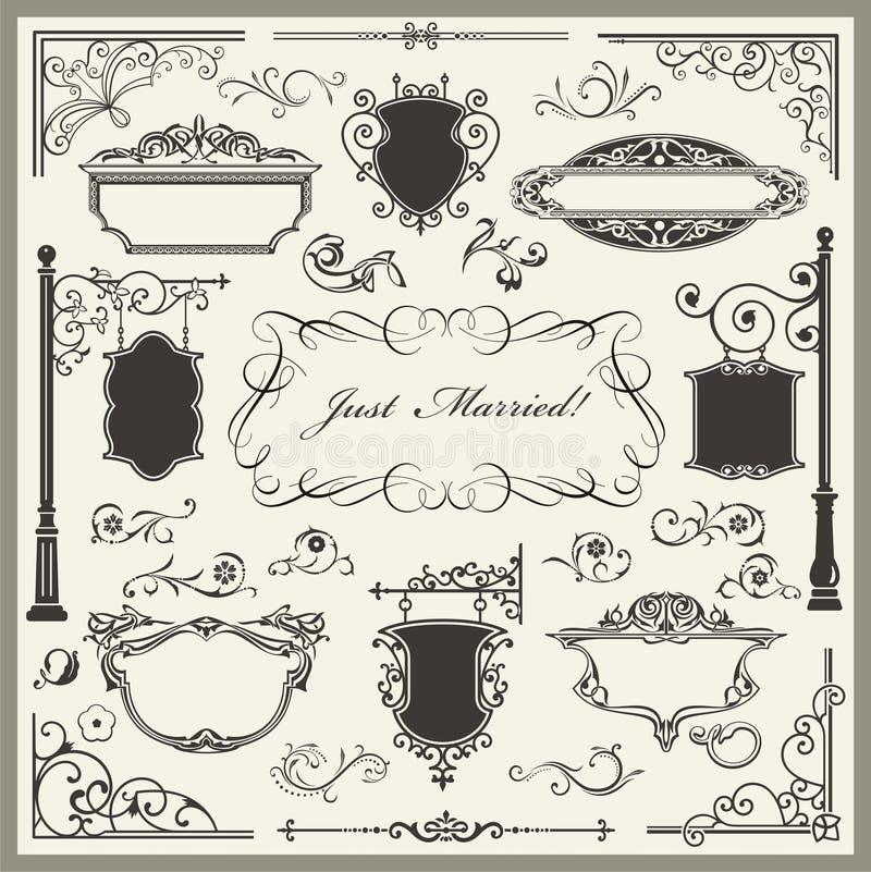 Disegni squisiti della decorazione della pagina e del Ornamental illustrazione vettoriale