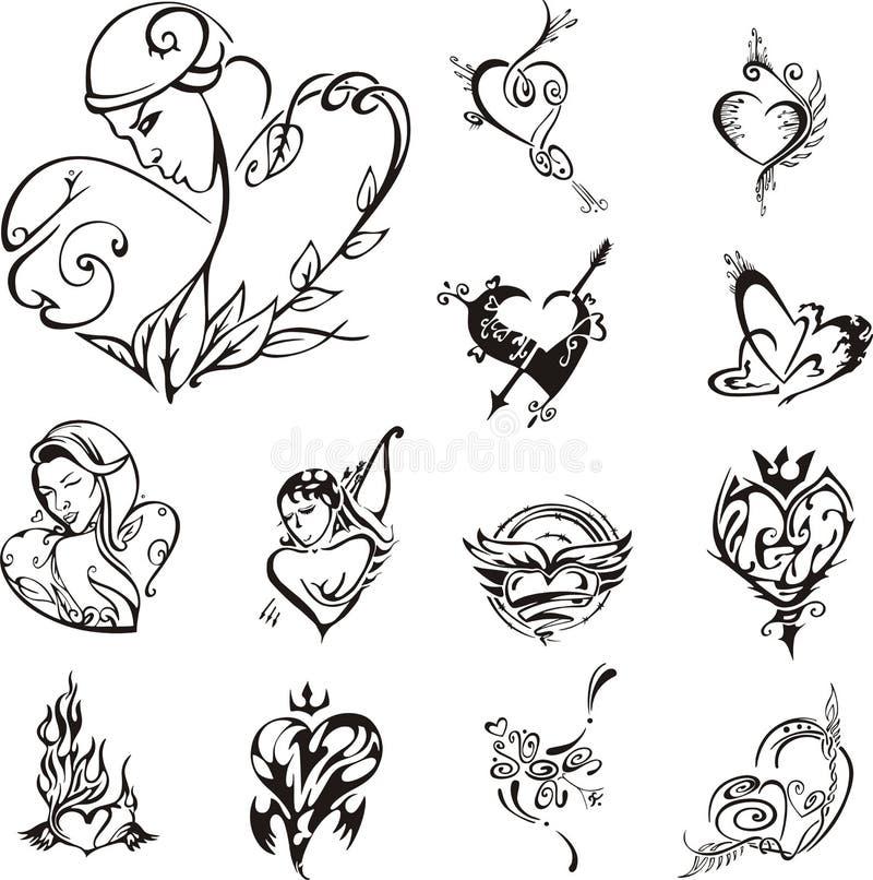 Disegni stilizzati del cuore royalty illustrazione gratis