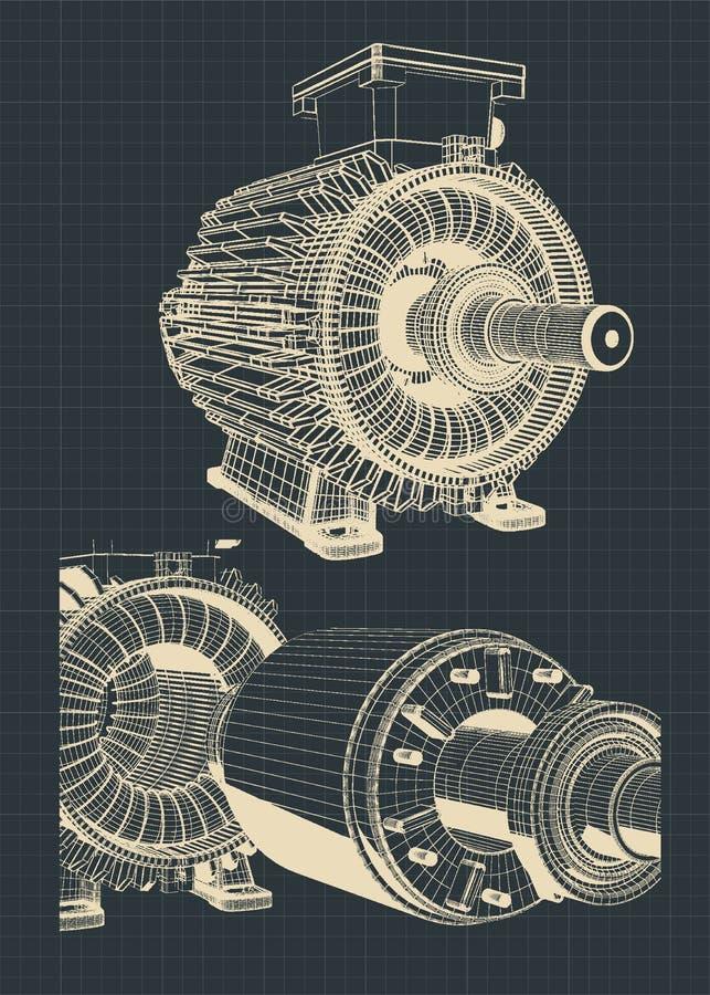 Disegni stilizzati del motore elettrico illustrazione di stock