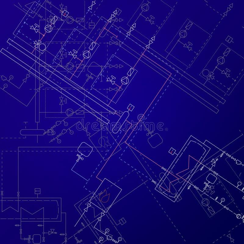 Disegni tecnici del locale caldaie Progetto di ingegneria del radiatore illustrazione vettoriale