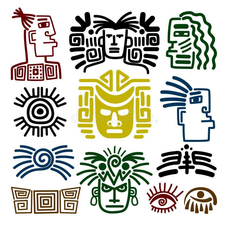 Disegni tribali del fronte messi royalty illustrazione gratis