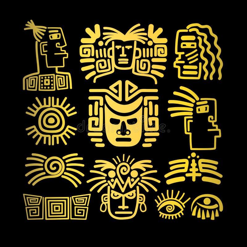 Disegni tribali messi, simboli dorati del fronte illustrazione di stock