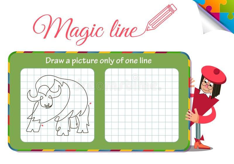 Disegni un'immagine soltanto di una linea bufalo illustrazione vettoriale
