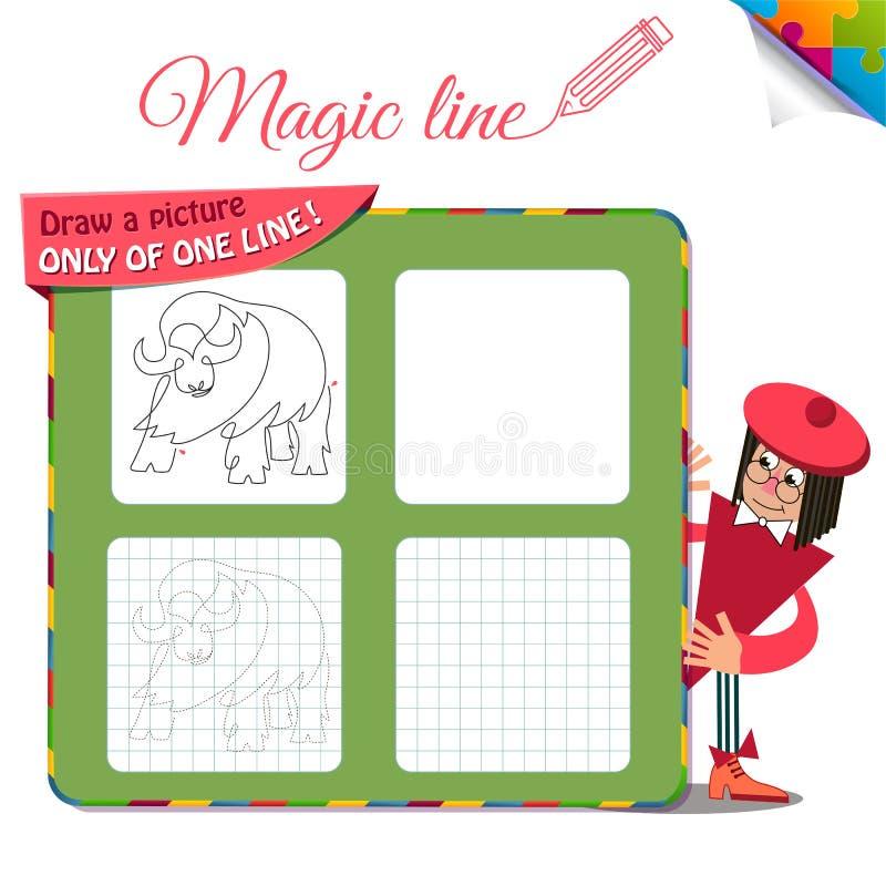 Disegni un'immagine soltanto di una linea bufalo illustrazione di stock