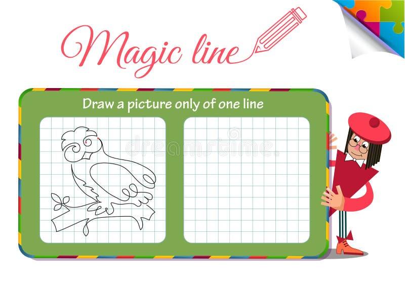 Disegni un'immagine soltanto di una linea gufo illustrazione vettoriale