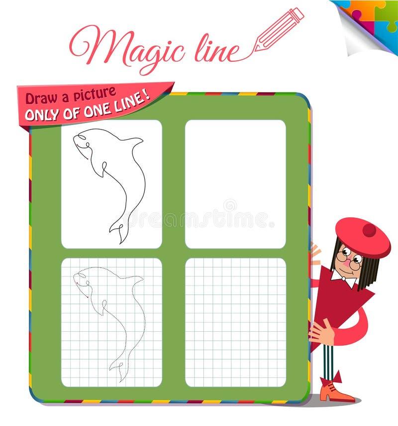 Disegni un'immagine soltanto di una linea il pesce, lo squalo, dilfin2 royalty illustrazione gratis