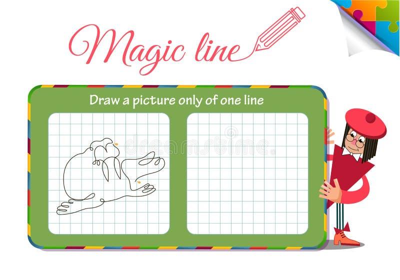 Disegni un'immagine soltanto di una linea la guarnizione, tricheco illustrazione di stock
