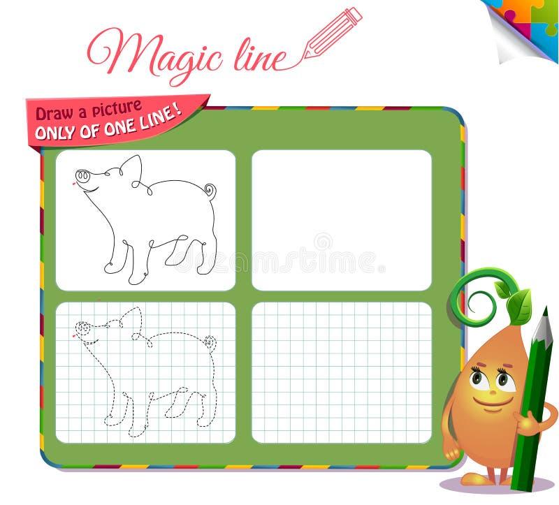 Disegni un'immagine soltanto di una linea porcellino illustrazione di stock