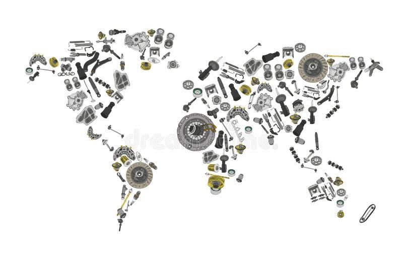 Disegni un mappa del mondo composto dei pezzi di ricambio illustrazione di stock