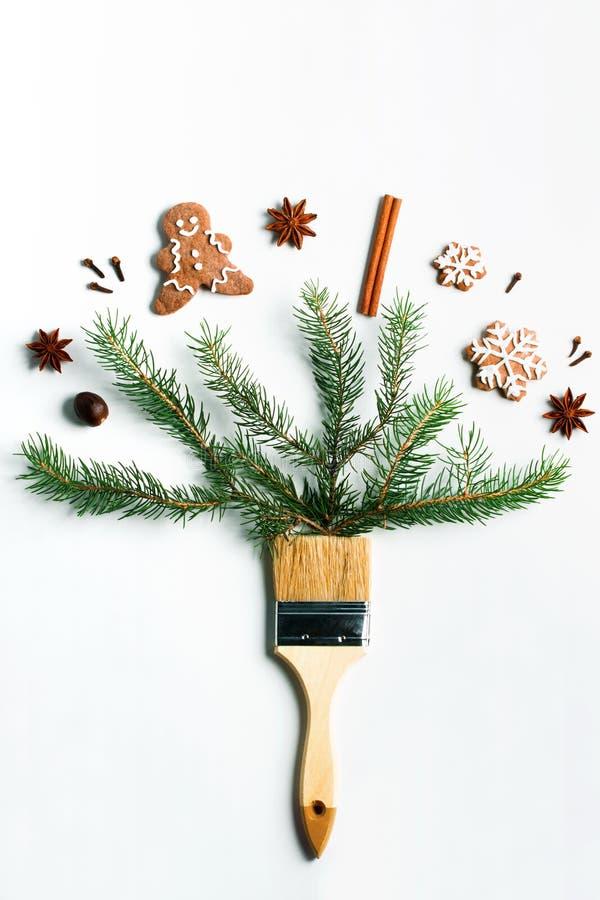 Disegnimi concetto creativo della composizione in vacanza invernale del nuovo anno di Natale immagini stock libere da diritti