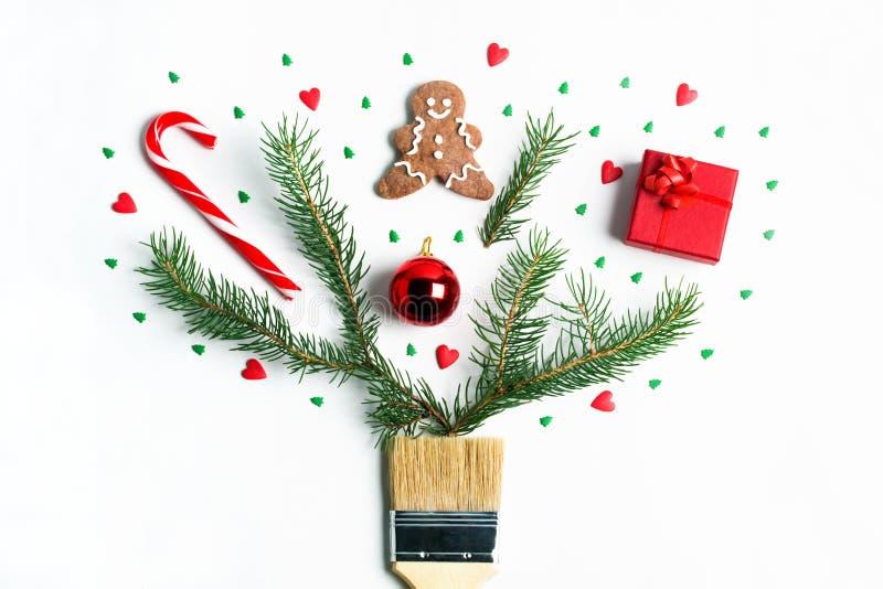 Disegnimi concetto creativo della composizione in vacanza invernale del nuovo anno di Natale fotografie stock
