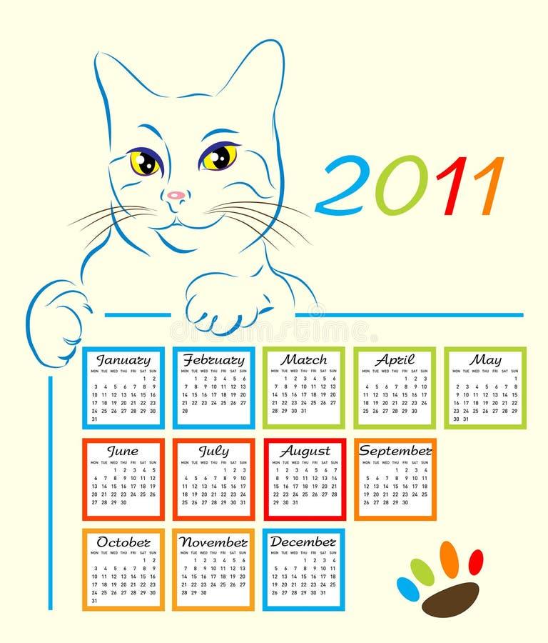 Disegno 2011 del calendario royalty illustrazione gratis