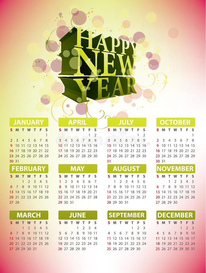 Disegno 2011 del calendario illustrazione di stock
