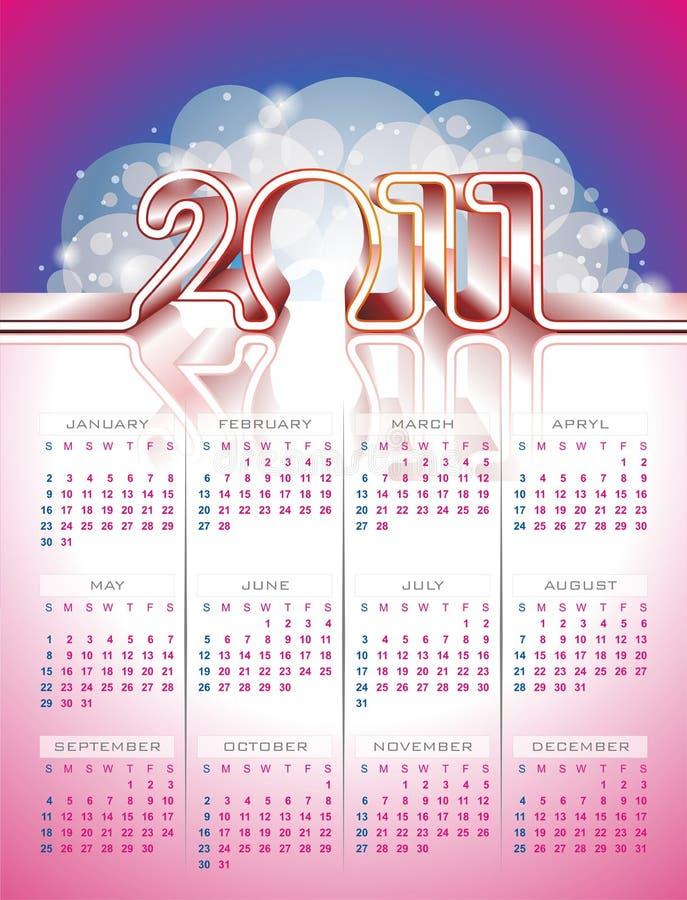 Disegno 2011 del calendario di vettore sulla priorità bassa di colore. royalty illustrazione gratis