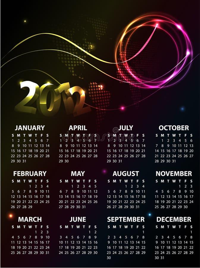 Disegno 2012 del calendario royalty illustrazione gratis