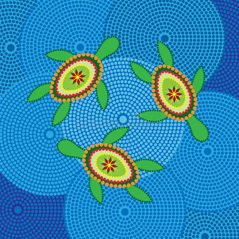 Disegno aborigeno della tartaruga illustrazione di stock