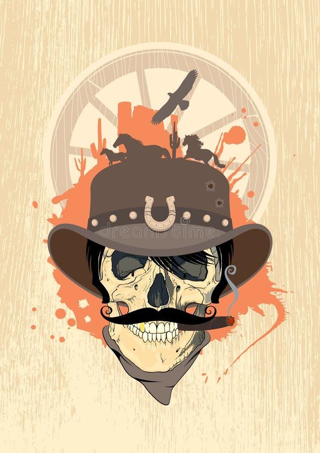 Disegno ad ovest con il cranio del cowboy. royalty illustrazione gratis