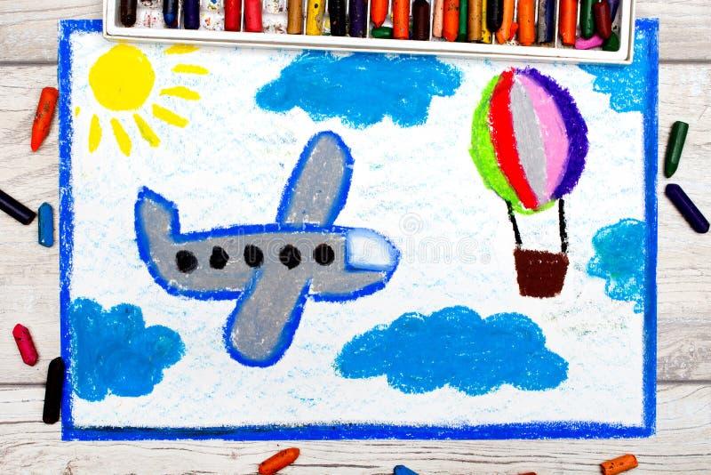 Disegno: Aeroplano e mongolfiera blu piccoli illustrazione vettoriale