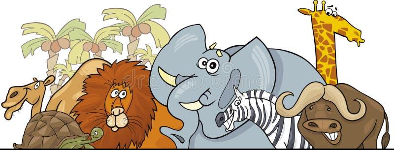 Disegno africano degli animali selvatici di safari del fumetto illustrazione di stock