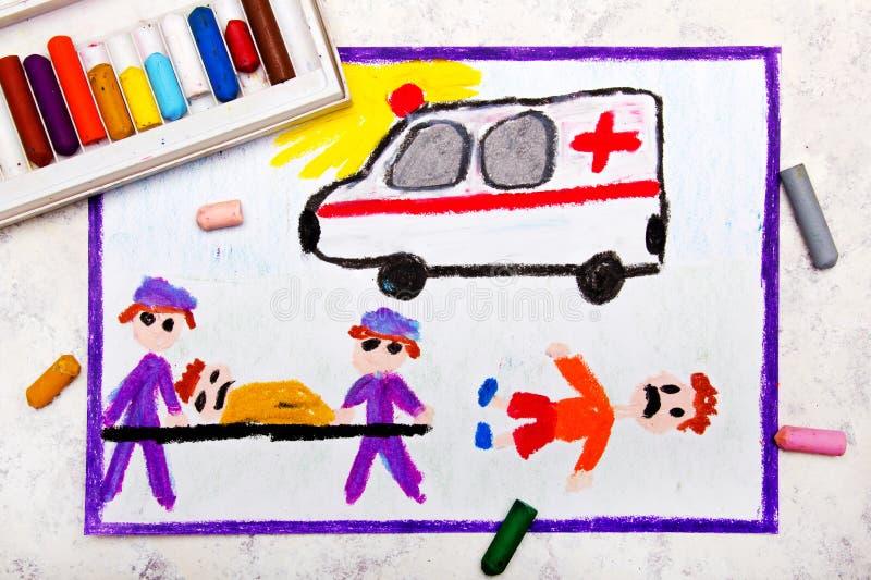 disegno: ambulanza e paramedici vittima di incidente illustrazione di stock