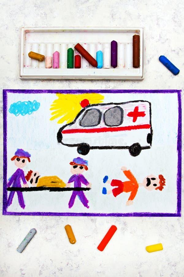 disegno: ambulanza e paramedici vittima di incidente illustrazione vettoriale