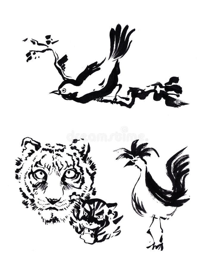 Disegno animale della pittura della spazzola del cinese Tigre, gallo ed uccello c illustrazione vettoriale