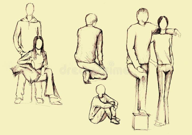 Disegno artistico della gente illustrazione di stock