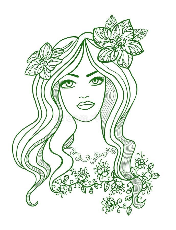 Disegno artistico di vettore di bella ragazza con illustrazione di stock
