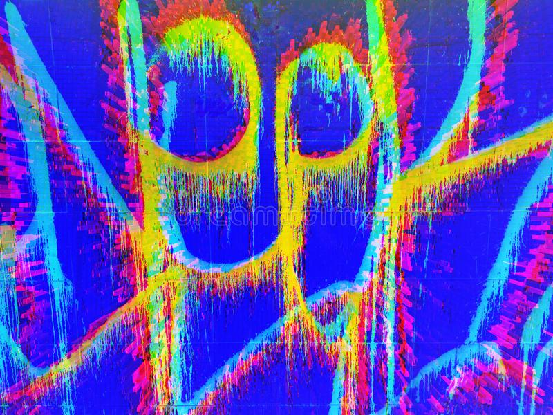 Disegno astratto in colori di acido luminoso Pixel grafici Contesto artistico immagini stock libere da diritti