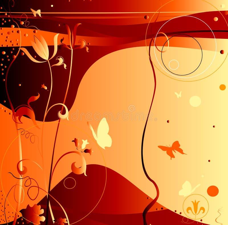 Disegno astratto con le farfalle di volo, fiori illustrazione vettoriale