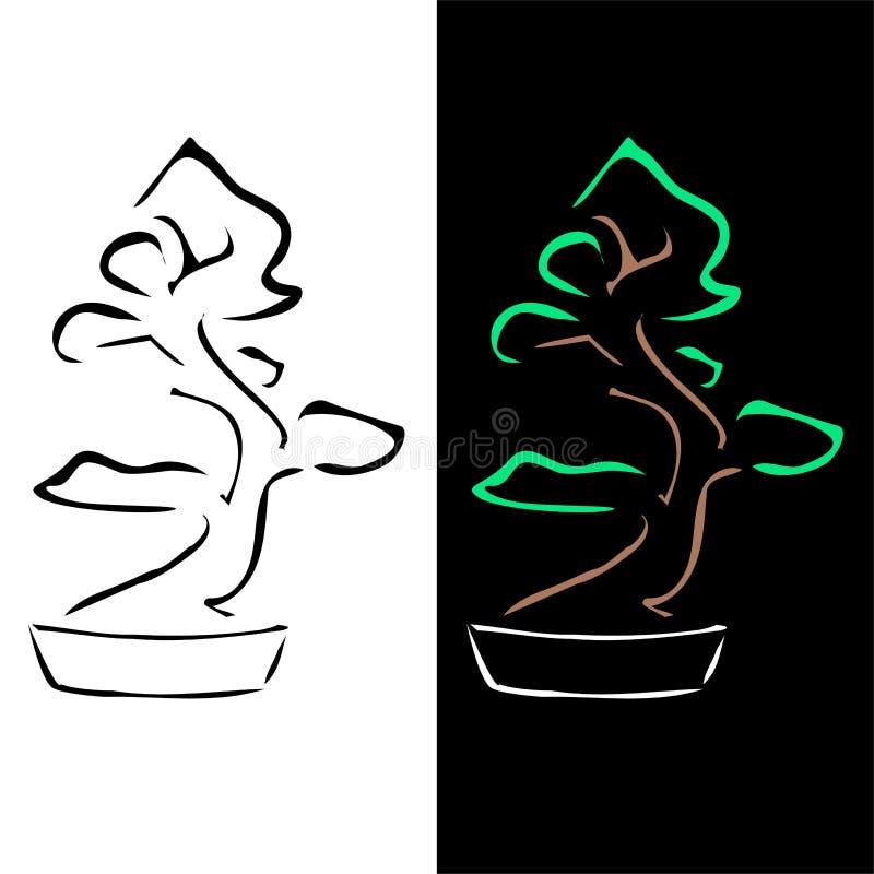 Disegno astratto dei bonsai illustrazione vettoriale