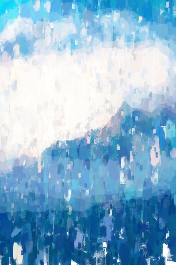 Disegno astratto del picco di montagna, illustrazione digitale, trama acrilica sull'immagine illustrazione di stock