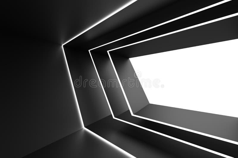 Disegno astratto di architettura Backgrou interno futuristico nero illustrazione vettoriale