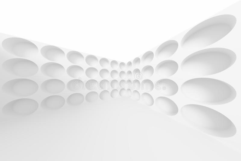 Disegno astratto di architettura Fondo interno futuristico bianco illustrazione di stock