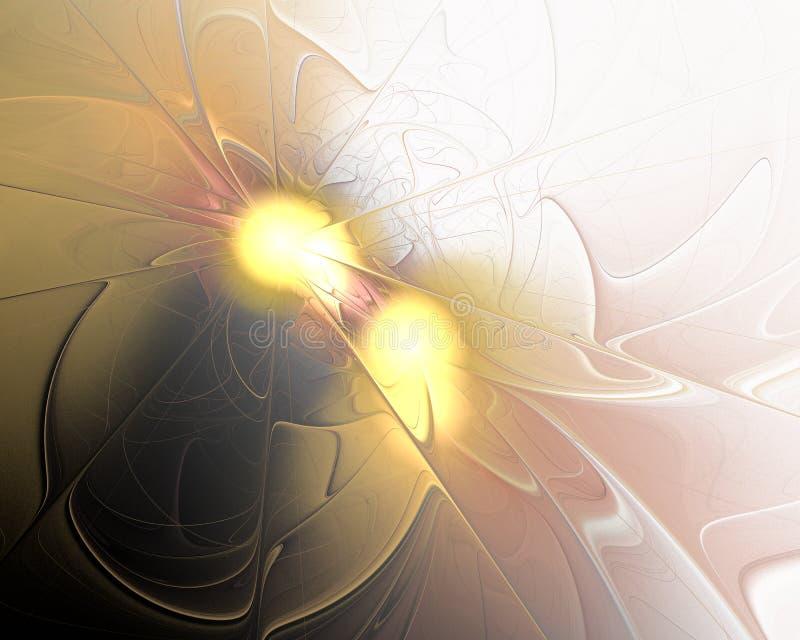 Disegno astratto di frattalo Due luci dorate fotografia stock libera da diritti