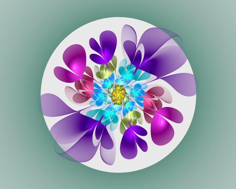 Disegno astratto di frattalo Fiore al neon nel cerchio fotografia stock