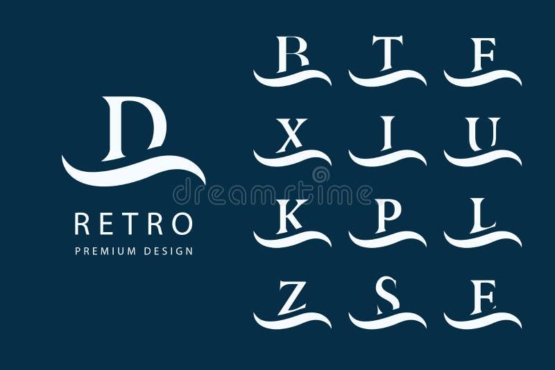 Disegno astratto di marchio Emblemi moderni Insieme delle lettere maiuscole sull'onda Segno di distinzione Elementi minimi Templa illustrazione vettoriale