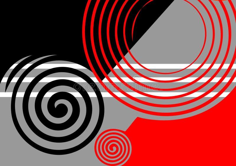 Disegno astratto nero-grigio-rosso. royalty illustrazione gratis