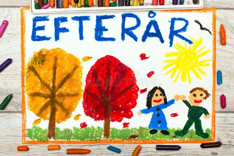 Disegno: Autunno danese di parola, coppie sorridenti ed alberi con le foglie di rosso ed arancio fotografia stock libera da diritti