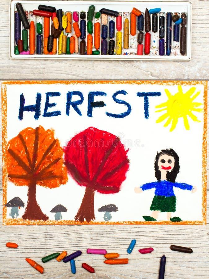 Disegno: Autunno olandese di parola, bambina sorridente, alberi con le foglie arancio e rosse, immagine stock libera da diritti