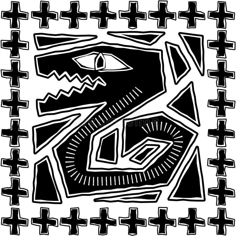 Disegno azteco del serpente illustrazione di stock