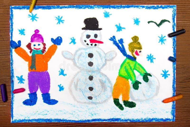 Disegno: Bambini felici che fanno un pupazzo di neve, orario invernale illustrazione vettoriale